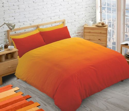 ORANGE 2 TONE FADE  TEENAGER KIDS BOYS GIRLS DUVET QUILT COVER SET PLAIN COLOUR BEDDING